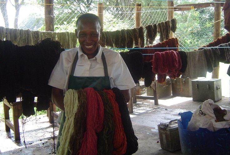 Wool being dyed
