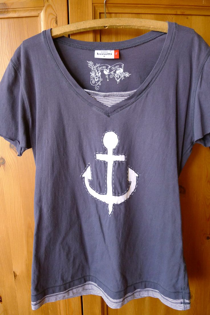 an old shirt upcycled by a reverse applique