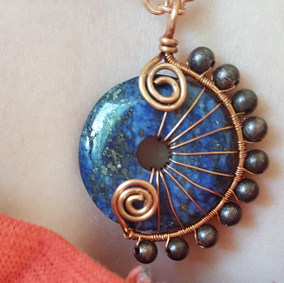 Lapis Lazuli Necklace - Copper Wire Wrap Necklace - Natural Gemstone Pendant Necklace - Boho Style - Wire Wrapped Dark Blue Stone