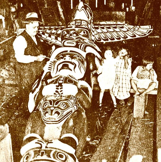 Native American  totem poles paintings   Totem poles for Sale Native American Indian Northwest Coast Kwakwaka ...
