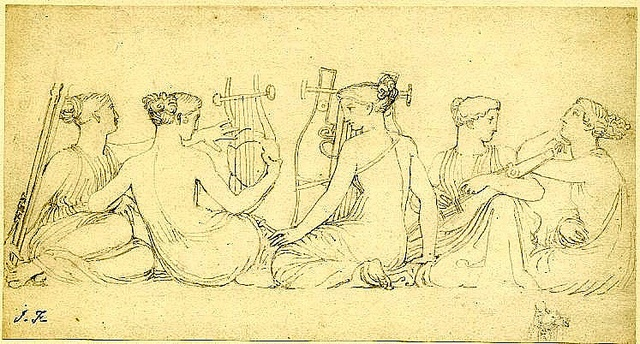 Maidens playing Music.  John Flaxman.  English, 18th cent. drawing 117x223 mm. by tony harrison, via Flickr