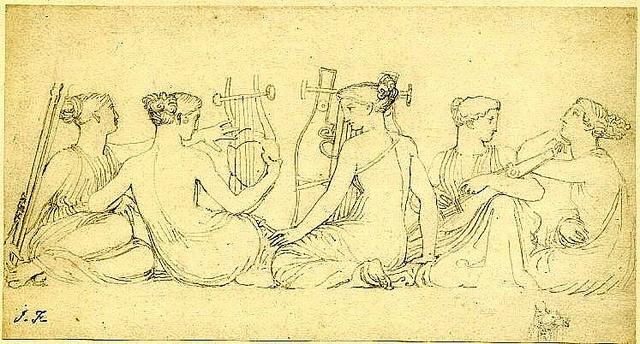 Maidens playing Music.  John Flaxman.  English, 18th cent. drawing 117x223 mm. by tony harrison, via Flickr