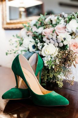 Forest Green Suede Wedding Shoes