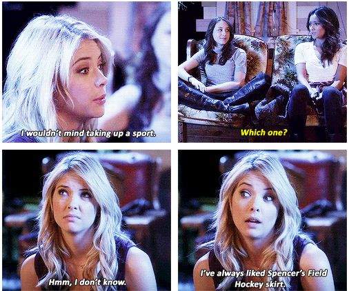 Hanna: I've always liked Spencer's field hockey skirt. Spencer: You can have it. This was one of the best episodes in the series.. Can't wait until Alison returns to Rosewood after she was 'dead'.