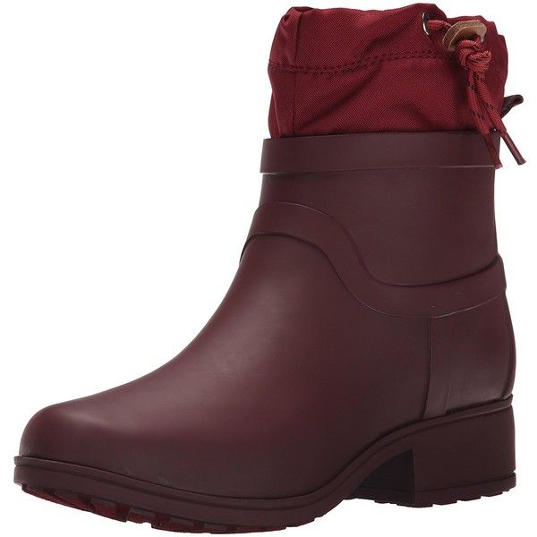 Lucky Women's Rebeka Rainboot ($45) ❤ liked on Polyvore featuring shoes, slip on shoes, sports shoes, wedge rain boots, wellington boots and leather slip on shoes