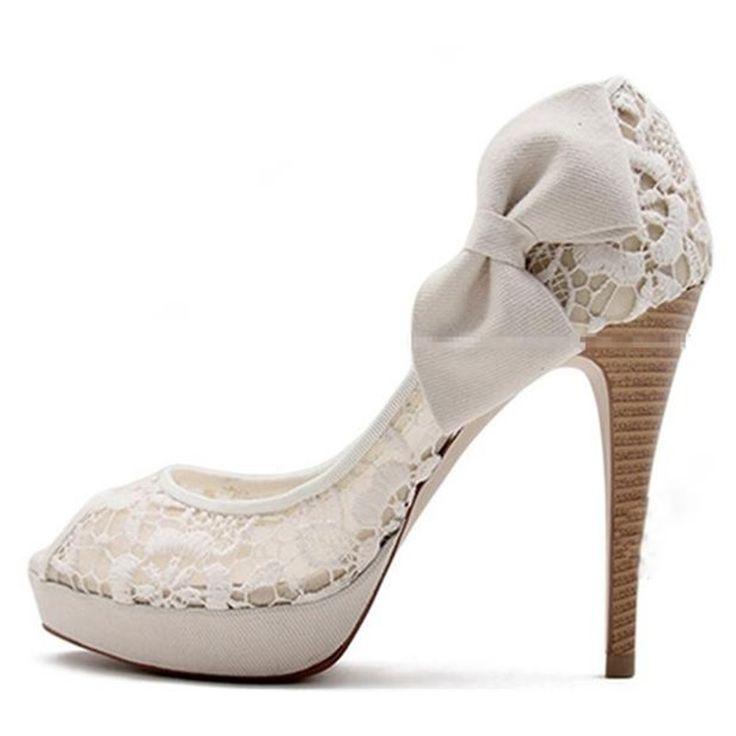 Dresswe.comサプライ品結婚式靴レースのぞき見つま先スリップオン高かかと ウェディングシューズ (5)