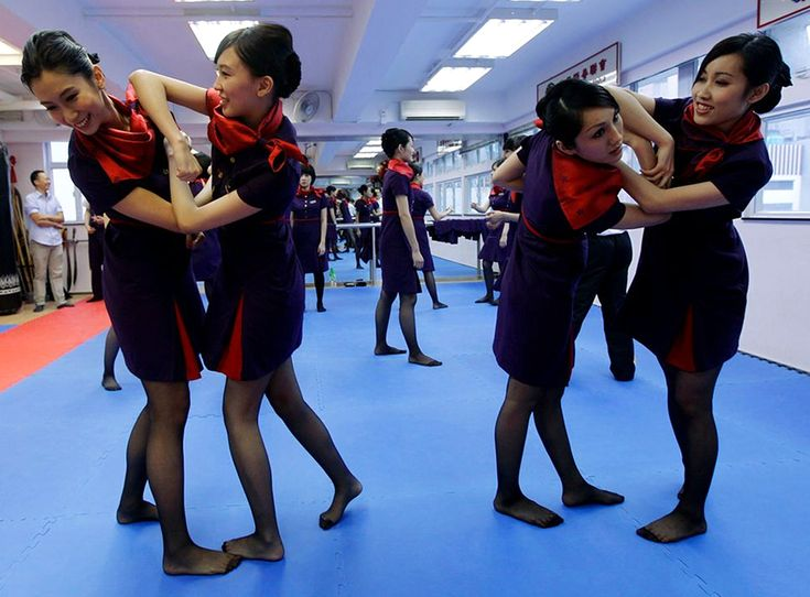 Hong kong airlines flight attendants learn martial arts in