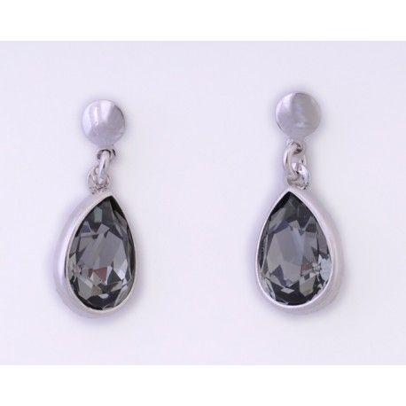 Pendientes con piedra swarovski black diamond #joyas #brugine #pendientes