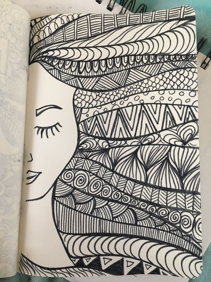 Girl hair zentangle drawing with marker scrapbooking
