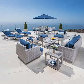 portofino comfort estate collection in laguna blue seating chaise lounge set dining set with dining umbrella umbrella base not included allweather woven