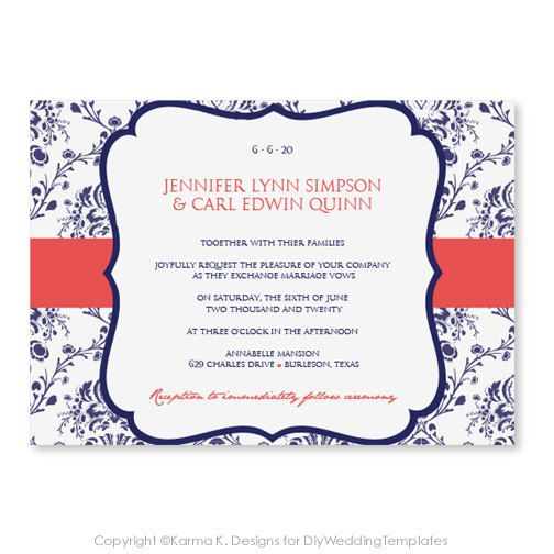 Printable Wedding Invitation Template - Download Instantly - EDITABLE TEXT- Victorian Damask (Navy & Coral)  - Microsoft Word Format