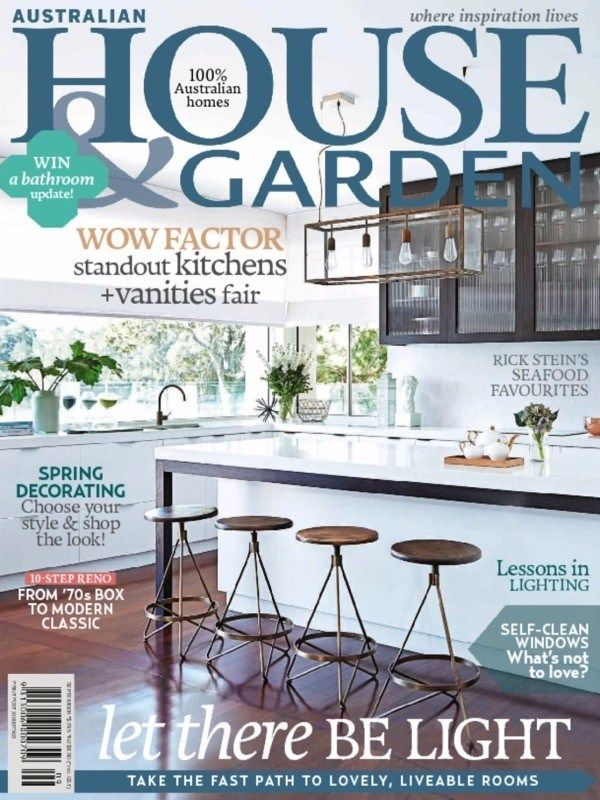 Australian House & Garden September 2015 Issue- Wow Factor: standout Kitchens +Vanities fair Rick Stein's seafood favourites | Self-Clean Windows What's not to love? | Led there be light.  #AustralianHouseandGarden #KitchenDesigns #Seafood #SelfCleanWindows #Lighting