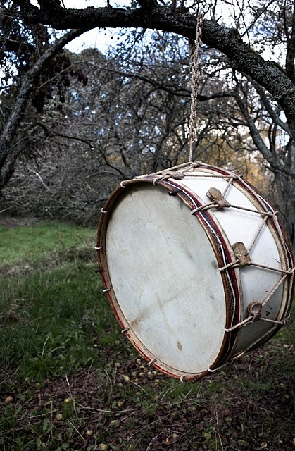 an outside drum!!   if I see a really cheap drum I think the kids would have a great time with this, I'd have to put it in a tree far away from the house though!! Maybe other instruments as well?