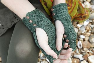 Ravelry: Genevieve Mitts pattern by Anna Elliott; Manos Silk Blend Fino Book 1