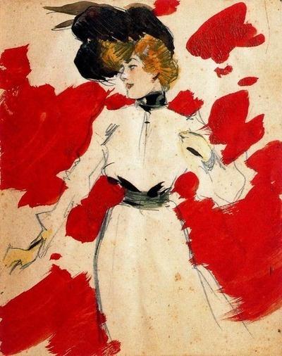 Ramón Casas. Feminine Figure, 1900. Lead pencil, watercolor and gouache.    (via:sealmaiden)
