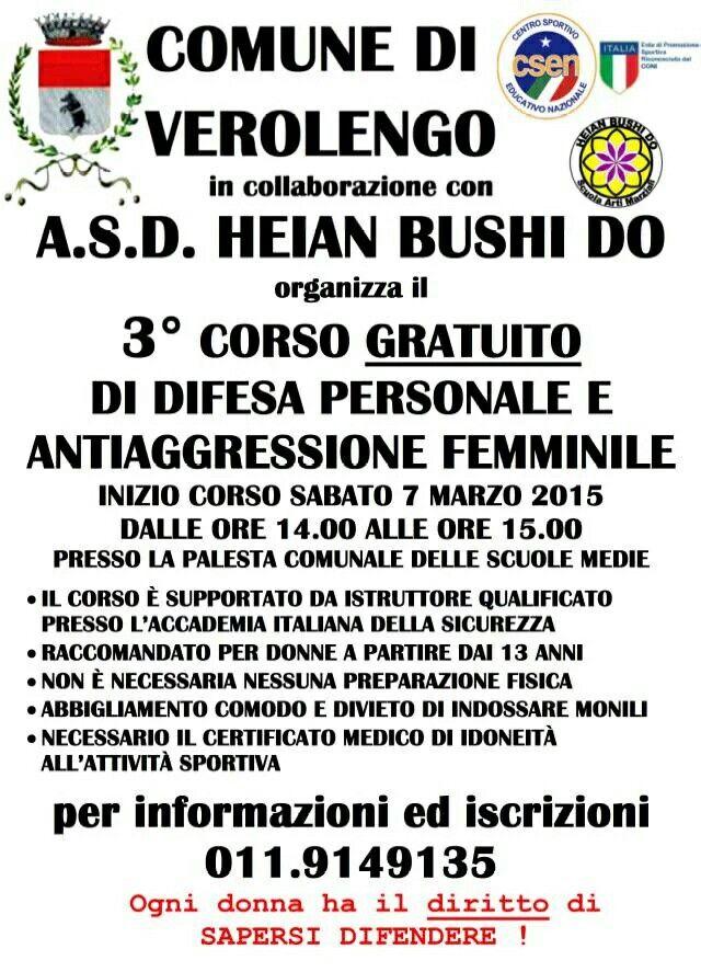 Corso di difesa ed antiaggressione femminile a Verolengo