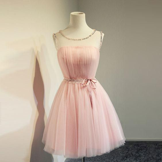 Sheer Neck Pink Graduation Dresses 2016 Scoop Collar Sash Bow Pleats Modern Cheap New Prom Cocktail Gown Formal Homecoming Gowns Veatidos Graduation Dresses College Graduation Dresses For 12 Year Olds From Yoyobridal, $62.83| Dhgate.Com