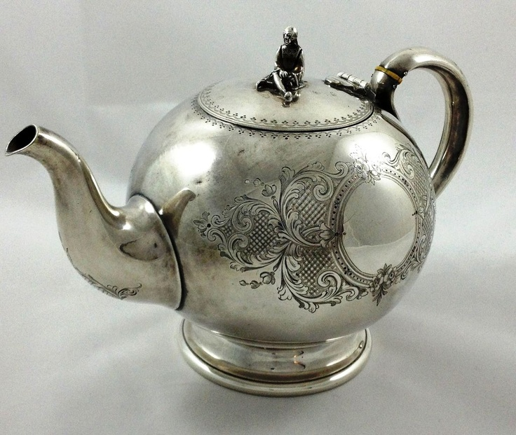 Nice silverplated teapot by Elkington with man-figure as finial from sterlingisland on Ruby Lane & 164 best Silver tea pots images on Pinterest | Tea pots Silver ...
