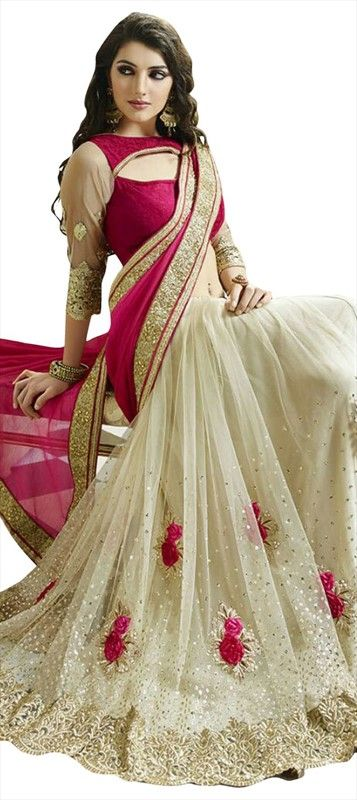 722982 Pink and Majenta, White and Off White  color family Embroidered Sarees, Party Wear Sarees in Net fabric with Machine Embroidery, Resham, Thread work   with matching unstitched blouse.
