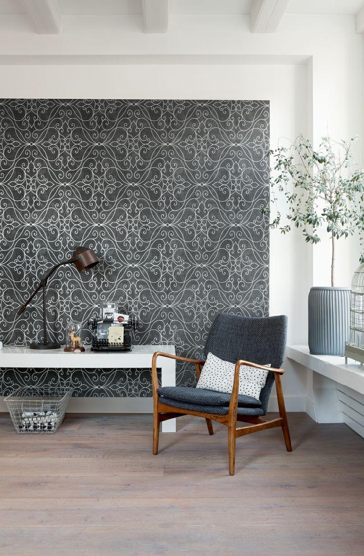 Grey wallpaper/behang Bloomsbury - BN Wallcoverings