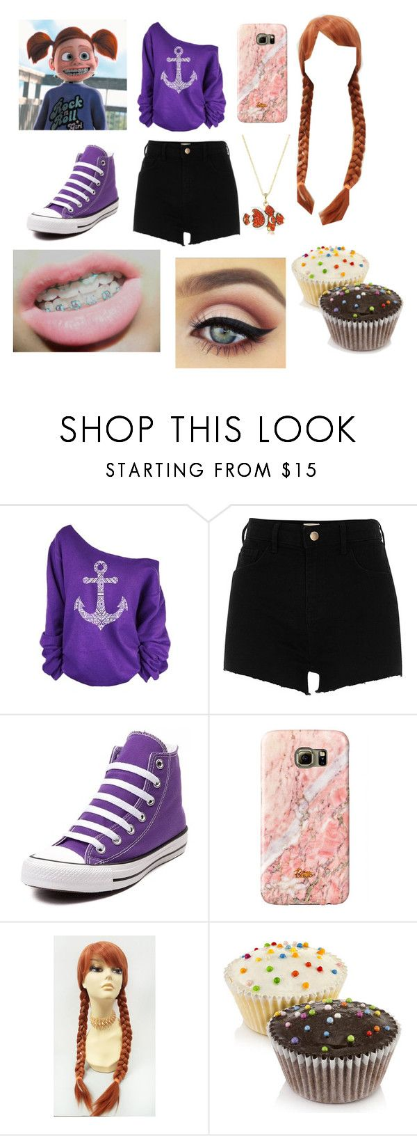 """""""Finding Nemo:Darla All Grown Up"""" by stephen-james-lover ❤ liked on Polyvore featuring WithChic, River Island, Converse and Andrew Hamilton Crawford"""