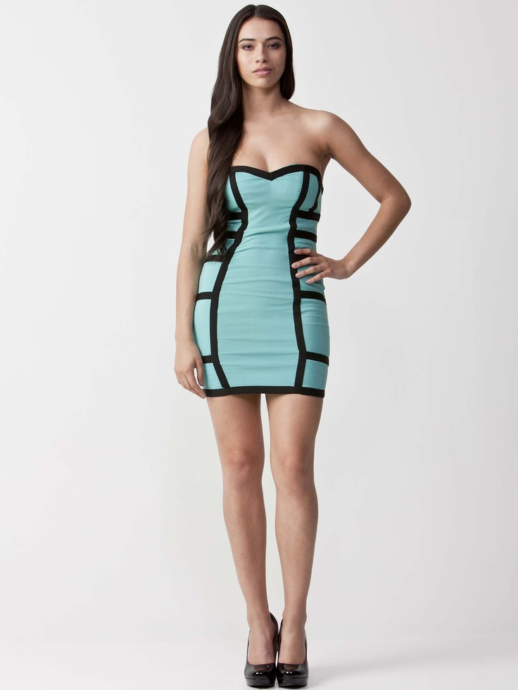 Monique - Teal Dress with heart shape neckline.  Features black trim details and fitted bodice.  Exposed rear zip and regular fit cut. $77.00