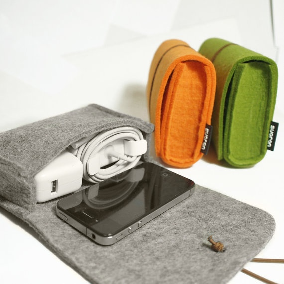 Wool Felt Case Pouch Camera Case Cosmetic BagFelt by TopHome, $18.00