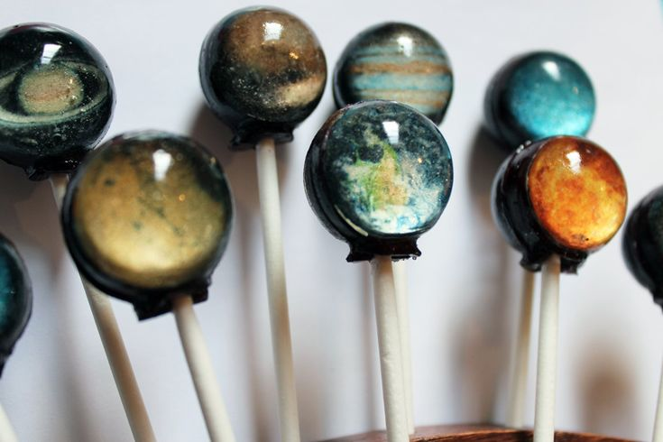 Original as seen on Cnet Planets solar system space ball style hard candy lollipop - 10 pc. - MADE TO ORDER. $17,50, via Etsy.