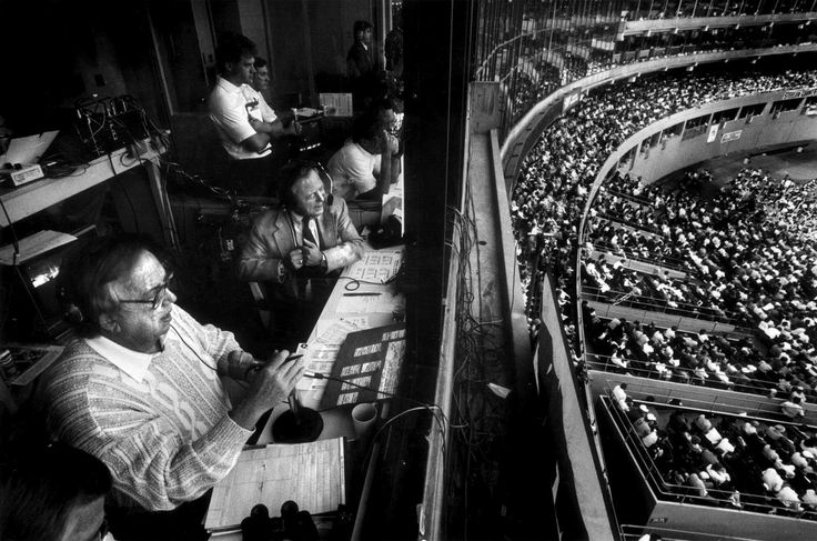 Pittsburgh Steelers radio voices Jack Fleming and Myron Cope calling a game at Three Rivers Stadium in 1988.