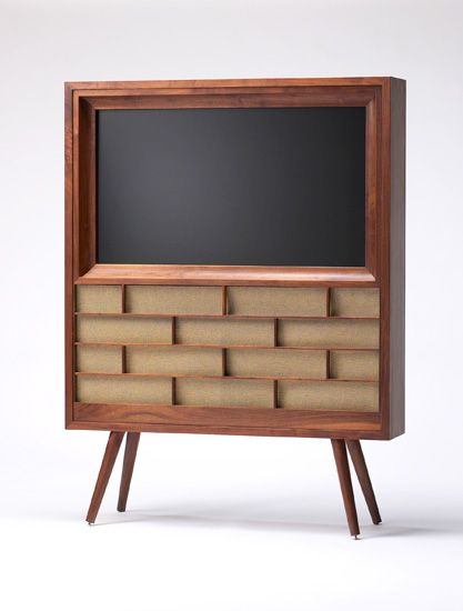Retro wood console housing for modern flat panel TV by Wilkerson Furniture | wilkersonfurniture.com