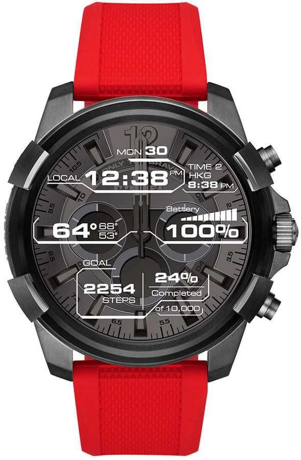 135c48081c8 Diesel On Men s Full Guard Red Silicone Strap Touchscreen Smart Watch 48mm