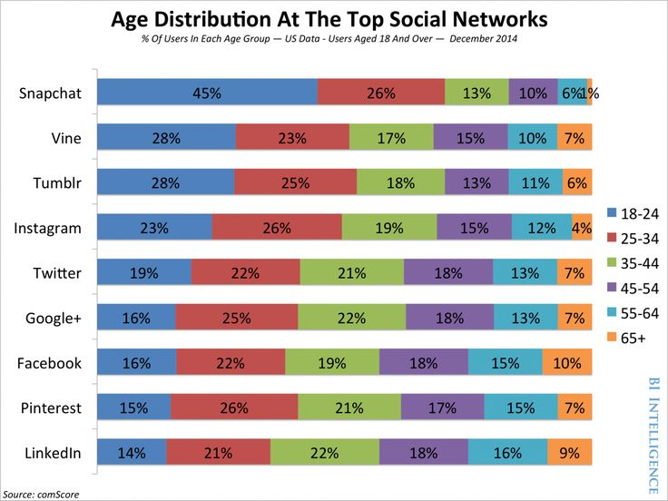 Age Distribution At The Top Social Neworks