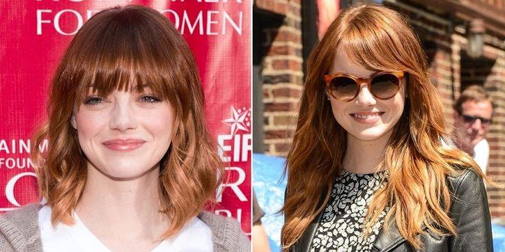 Capelli lunghi con frangia, Emma Stone e la sua trasformazione di look
