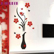 Kakuder стикеры стены наклейка home decor diy ваза цветок дерево кристалл arcylic 3d наклейки для детской комнаты u6930(China (Mainland))
