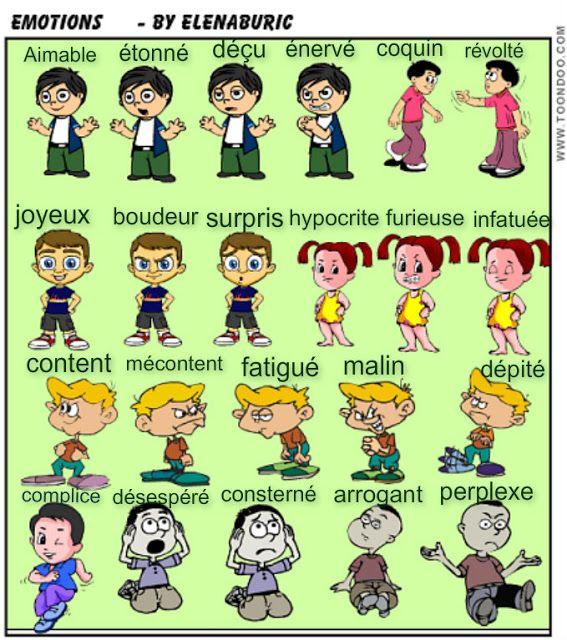 La classe de français: Expressions du visage et sentiments. Révision de l'adjectif qualificatif. Imagiers et vidéo