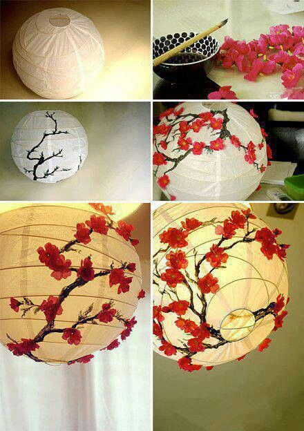 painting cherry blossoms on your paper Chinese lantern