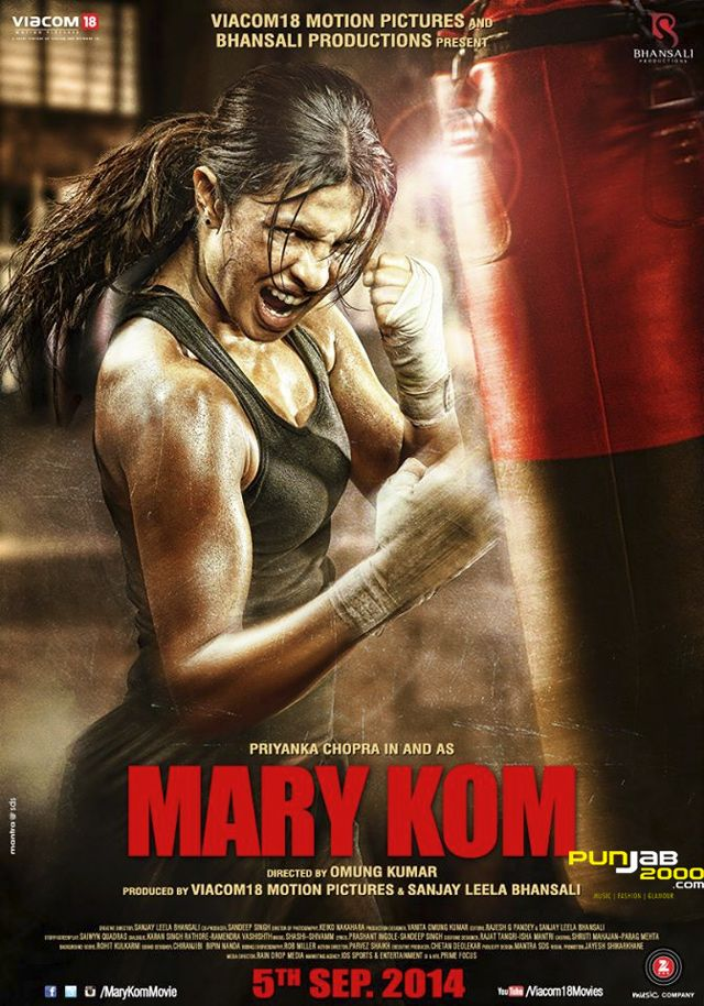 """Priyanka Chopra reveals first Look poster for Mary Kom. The actress, seems to have the """"Midas touch"""". Everything she does seems to pay off for her.  The model turned actress & singer is set to star IN & AS The Olympic female boxer Mary Kom (and another 1st in Bollywood) Chopra released the 1st look poster to the film today via her twitter & it started to trend straight away & got to the number 1 spot on Facebook."""