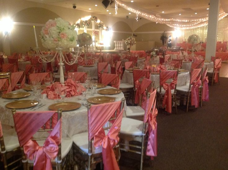 Quinceanera Hall Decorations Pink Coral and ivory...