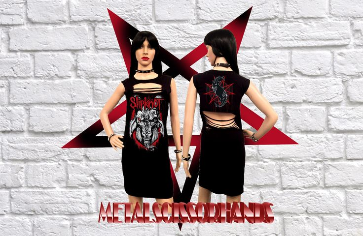 Slipknot Handmade Mini Dress Shredded Braided Slashed Cut Gothic Rock band by MetalScissorhands on Etsy