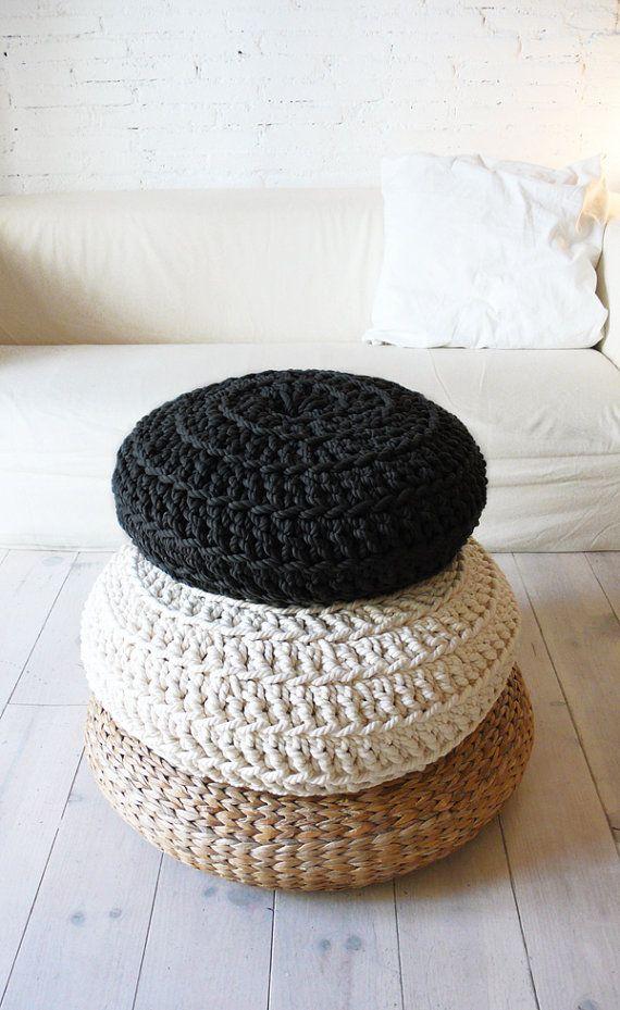 Floor Cushion Crochet Thick Cotton black por lacasadecoto en Etsy, €65.00
