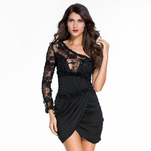 Sexy One-Shoulder Flower Embroidery Black Women Dress Asymmetrical Above Knee Casual Autumn Sheath Dresses 2017 Vestido