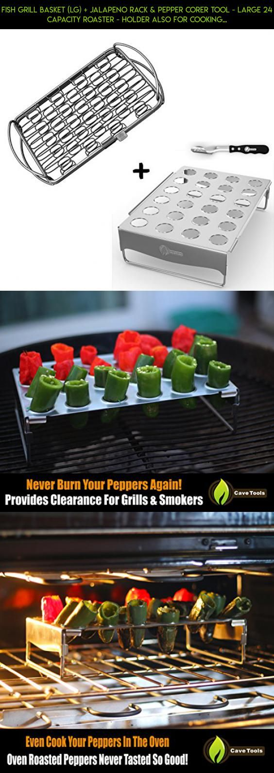 Fish Grill Basket (lg) + Jalapeno Rack & Pepper Corer Tool - LARGE 24 CAPACITY ROASTER - Holder Also For Cooking Chili or Chicken Legs & Wings on BBQ Smoker or Oven - Dishwasher Safe Stainless Steel #racing #products #grills #technology #camera #sausage #tech #my #fpv #plans #shopping #kit #love #drone #gadgets #parts