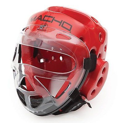 Macho Dyna Karate Sparring Head Gear with Face Shield Combo