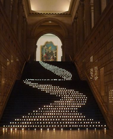 Candles snaked down the staircase leading the way for guests. Photo: Courtesy of David Beahm