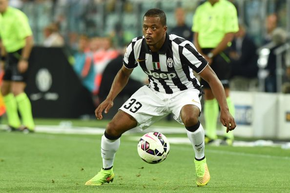 Patrice Evra of Juventus FC in action during the Serie A match between Juventus FC and Udinese Calcio at Juventus Arena on September 13, 2014 in Turin, Italy.