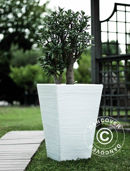 PLANTER ROSA 43.5X53 CM, WHITE Beautiful and modern Italian produced planter in anti-shock, light weight, UV- and weather resistant, recyclable plastic. Realistic natural stone look.