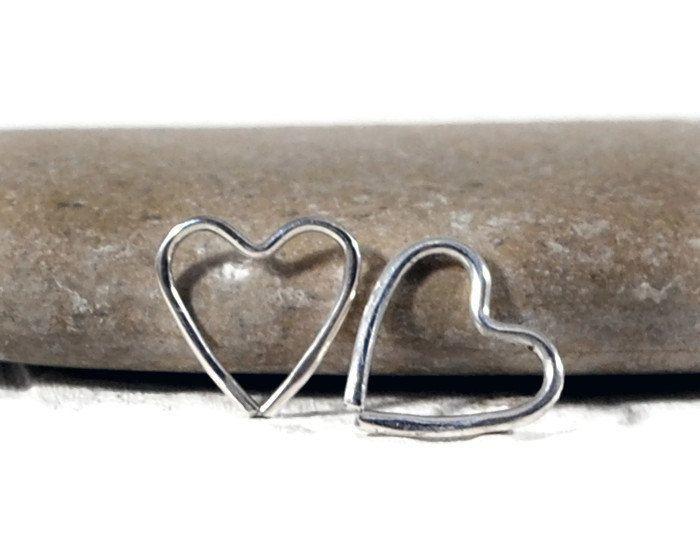 Silver Open Heart Hoop Earring. 10mm Single Heart Earring. Endless Hoop Earring. Upper Ear Piercing. Helix Snug Tragus Lobe Hoop. GSminimal
