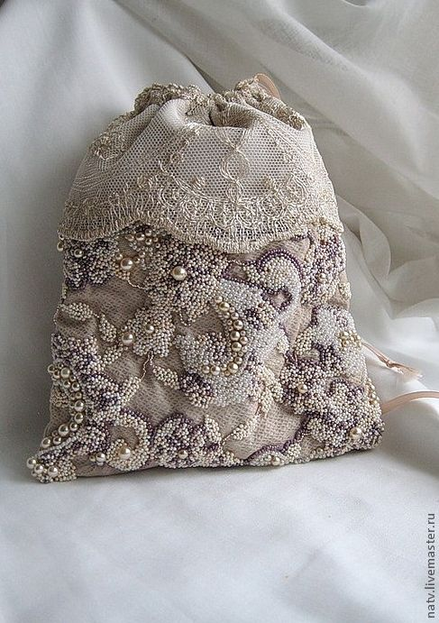 """Купить """"Сны Вероники"""" - сумочка, бисер, хлопок, атласные ленты, жемчуг, свадебная сумочка, бежевый"""