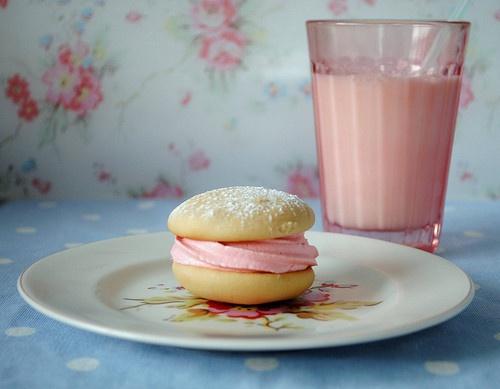 PinkCookies, Milk, Strawberries, Food Photography, Girly Girls, Pink Treats, Whoopie Pies, Pink Snacks, Pink Cake