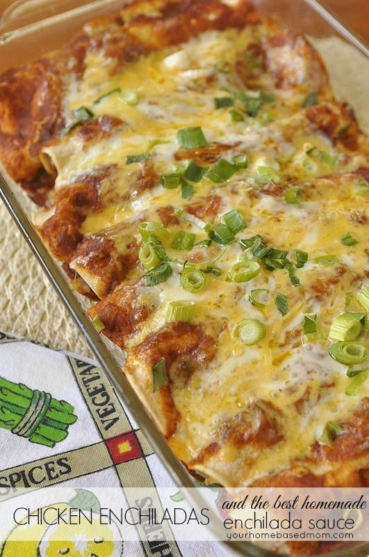 Chicken Enchiladas with the best homemade enchilada sauce - you will never buy canned sauce again!